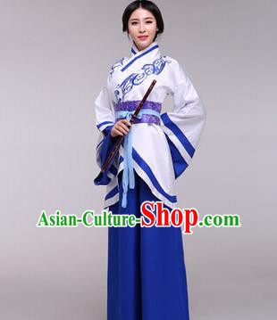 Traditional Ancient Chinese Imperial Princess Costume, Elegant Hanfu Chinese Han Dynasty Imperial Empress Embroidered Blue Clothing for Women