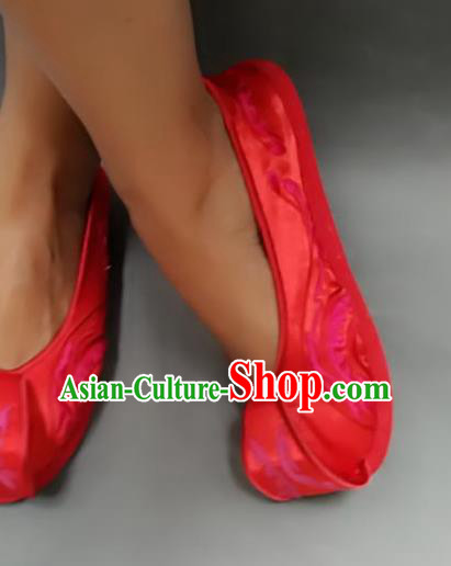 Traditional Chinese National Wedding Red Satin Shoes Embroidered Shoes, China Handmade Shoes Hanfu Embroidery Shoes for Women