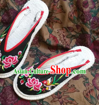 Traditional Chinese National Embroidered Shoes Handmade Black Cloth Slippers, China Hanfu Embroidery Flowers Shoes for Women