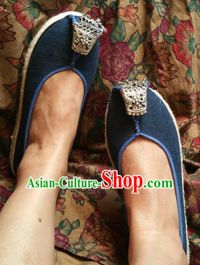 Traditional Chinese National Embroidered Shoes Handmade Navy Linen Shoes, China Hanfu Embroidery Shoes for Women
