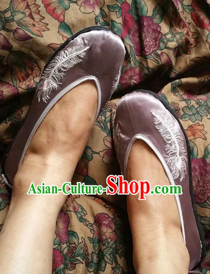Traditional Chinese National Embroidered Shoes Handmade Lilac Satin Shoes, China Hanfu Embroidery Shoes for Women