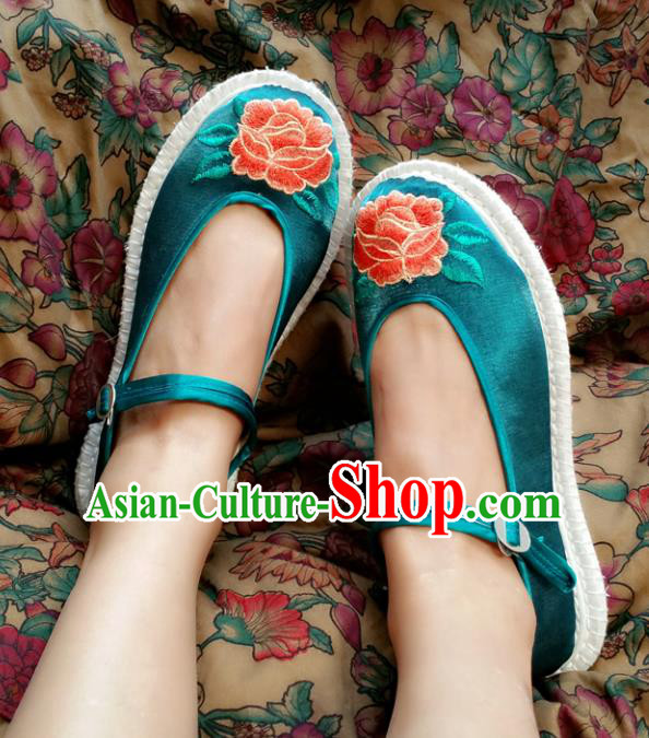 Traditional Chinese National Embroidered Shoes Handmade Green Cloth Shoes, China Hanfu Embroidery Flowers Shoes for Women