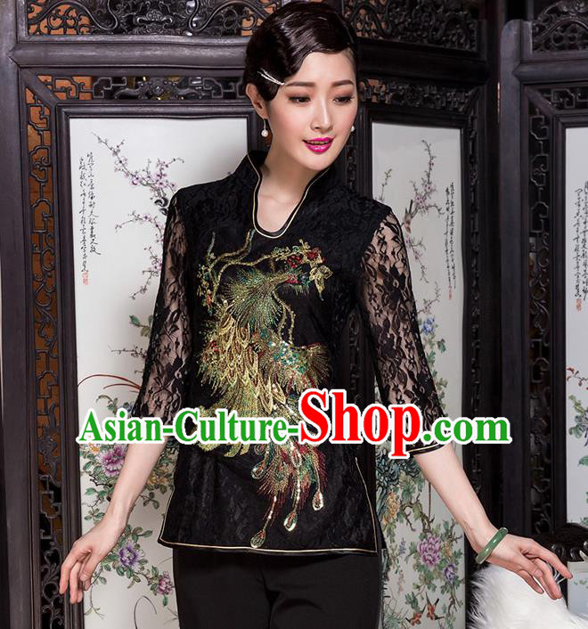 Traditional Chinese National Costume Elegant Hanfu Embroidery Peacock Black Shirt, China Tang Suit Blouse Cheongsam Upper Outer Garment for Women