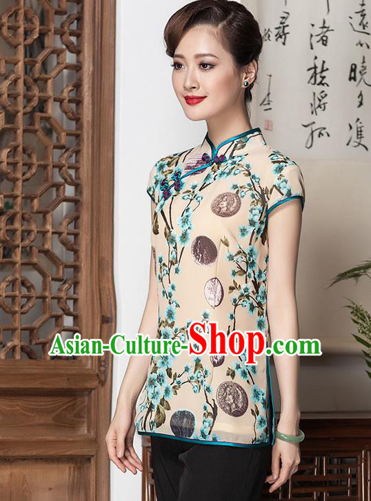 Traditional Chinese National Costume Elegant Hanfu Plated Button Printing Apricot Shirt, China Tang Suit Upper Outer Garment Cheongsam Blouse for Women
