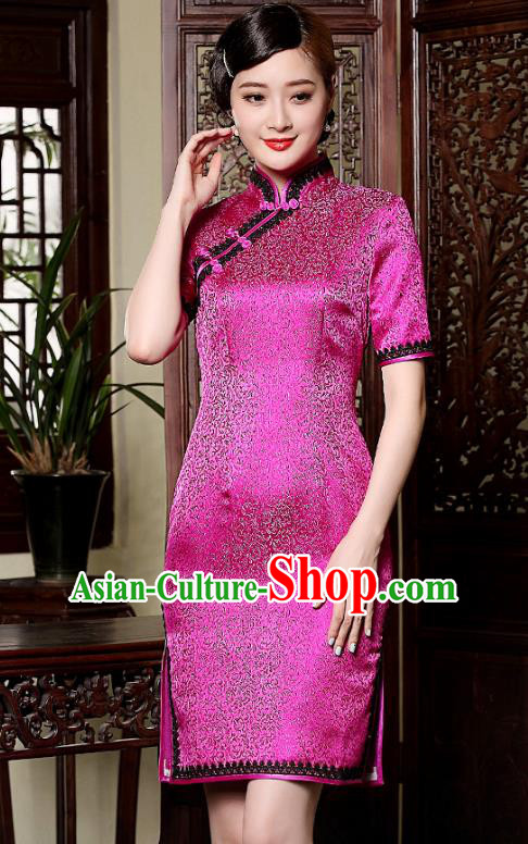 Traditional Chinese National Costume Hanfu Mandarin Qipao Dress, China Tang Suit Rosy Silk Cheongsam for Women