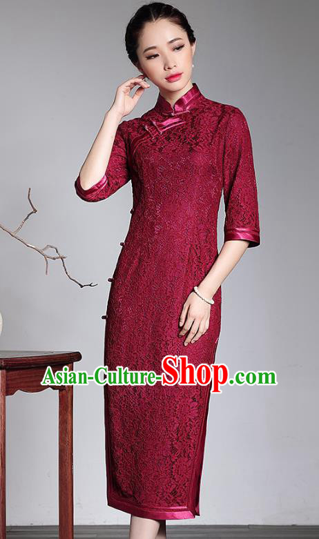Traditional Chinese National Costume Red Lace Qipao Dress, China Tang Suit Chirpaur Cheongsam for Women