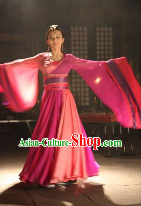 Asian China Tang Dynasty Palace Lady Dance Costume and Headpiece Complete Set, Traditional Chinese Ancient Princess Hanfu Embroidered Clothing for Women