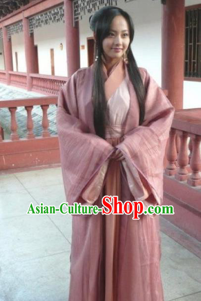 Asian China Han Dynasty Young Lady Costume, Traditional Chinese Ancient Princess Hanfu Embroidered Clothing for Women