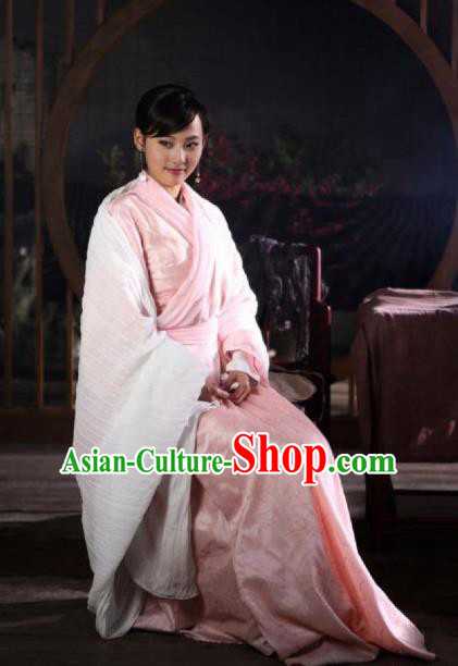 Asian China Han Dynasty Palace Lady Princess Costume, Traditional Chinese Ancient Hanfu Embroidered Clothing for Women