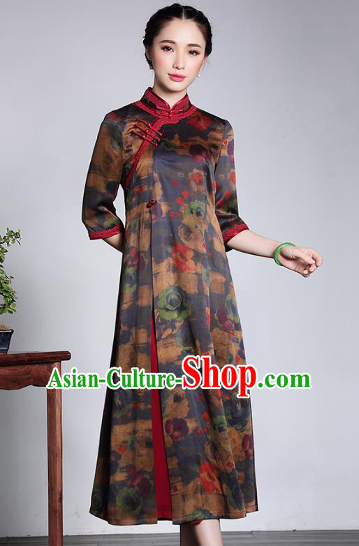 Traditional Chinese National Costume Plated Buttons Silk Qipao Dress, China Tang Suit Chirpaur Cheongsam for Women