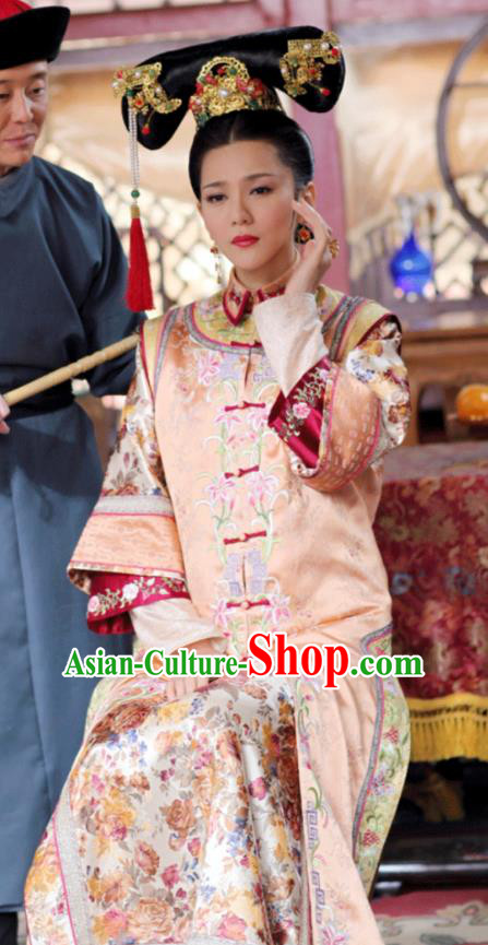 Asian China Qing Dynasty Imperial Empress Costume, Traditional Chinese Ancient Manchu Palace Lady Embroidered Clothing for Women