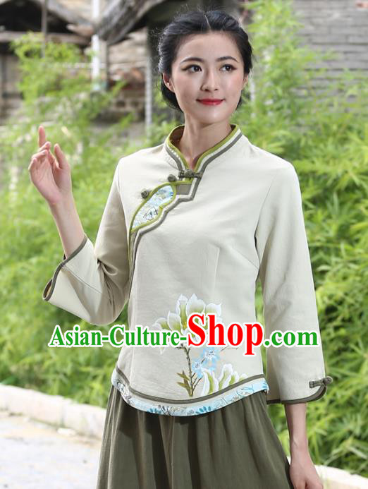 Asian China Hand Painting Green Linen Cheongsam Blouse, Traditional Chinese Tang Suit Hanfu Shirts for Women