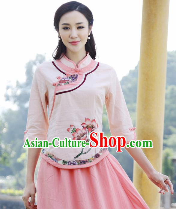 Asian China Hand Painting Pink Linen Cheongsam Blouse, Traditional Chinese Tang Suit Hanfu Shirts for Women