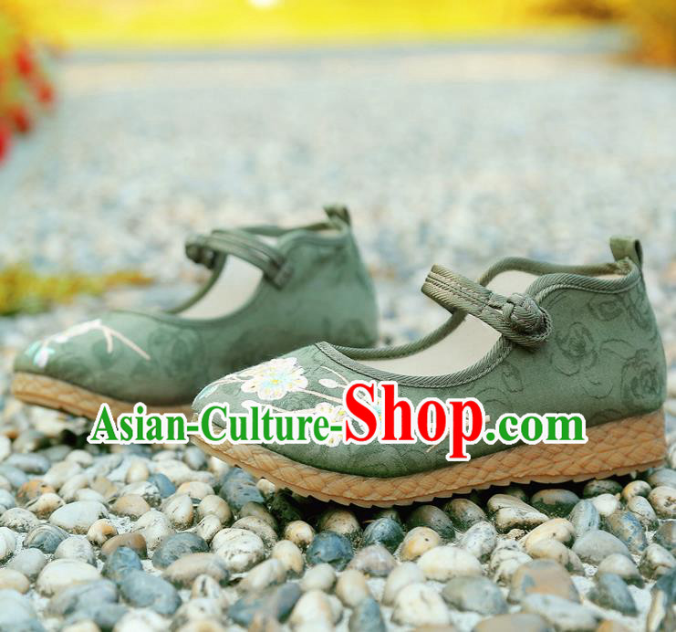 Traditional Chinese National Embroidered Shoes Green Linen Shoes, China Handmade Hanfu Embroidery Flowers Shoes for Kids