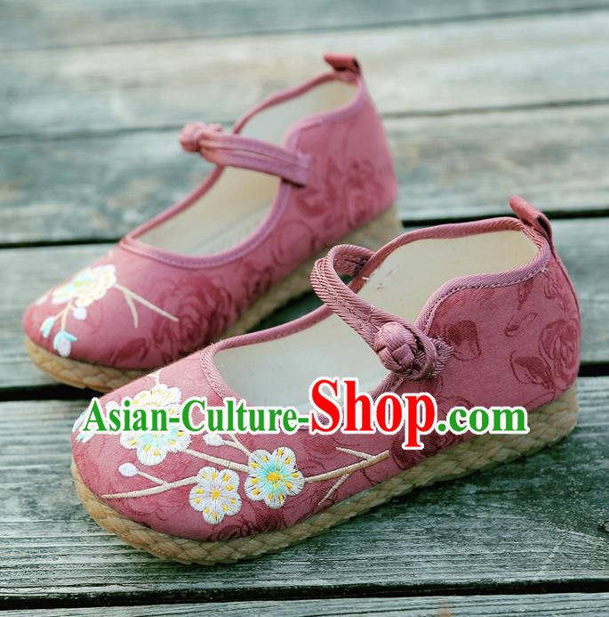 Traditional Chinese National Embroidered Shoes Red Linen Shoes, China Handmade Hanfu Embroidery Wintersweet Shoes for Kids