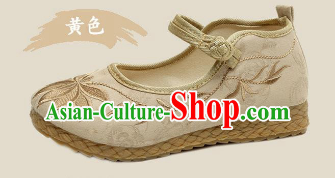 Traditional Chinese National Embroidered Shoes Beige Linen Shoes, China Handmade Hanfu Embroidery Lotus Shoes for Kids