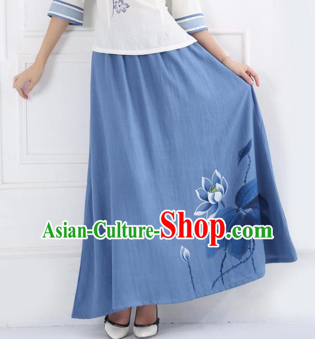 Asian China Hand Painting Lotus Blue Linen Bust Skirt, Traditional Chinese Tang Suit Skirts for Women