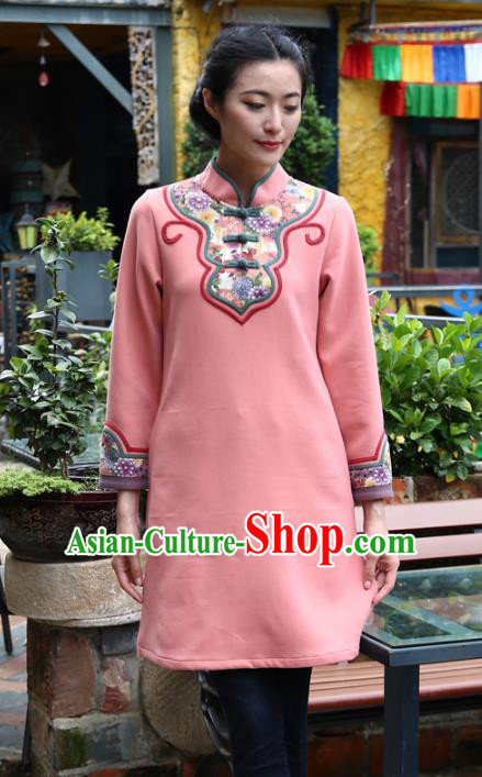 Asian China Hand Painting Pink Linen Cheongsam Blouse, Traditional Chinese Tang Suit Hanfu Plated Button Qipao Shirts for Women
