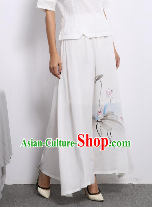 Asian China Hand Painting Lotus White Linen Bust Skirt, Traditional Chinese Tang Suit Hanfu Skirts for Women