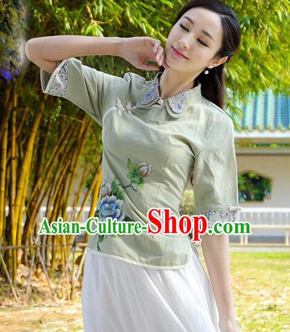 Asian China Top Grade Green Linen Cheongsam Blouse, Traditional Chinese Tang Suit Hanfu Plated Button Qipao Shirts for Women