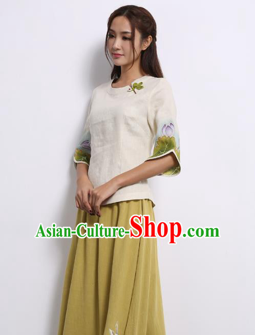 Asian China Top Grade White Linen Hand Painting Lotus Cheongsam Blouse, Traditional Chinese Tang Suit Hanfu Plated Button Qipao Shirts for Women