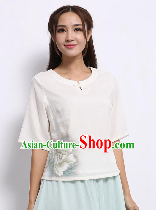 Asian China Top Grade White Linen Hand Ink Painting Peony Cheongsam Blouse, Traditional Chinese Tang Suit Hanfu Plated Button Qipao Shirts for Women