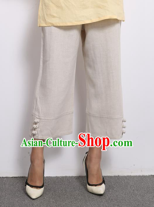 Traditional Chinese National Costume Loose Pants, Elegant Hanfu Linen Wide leg Pants, China Tang Suit Ultra-wide-leg Trousers for Women