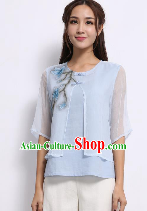 Asian China Top Grade Blue Silk Cheongsam Hand Painting Cheongsam Blouse, Traditional Chinese Tang Suit Hanfu Plated Button Qipao Shirts for Women