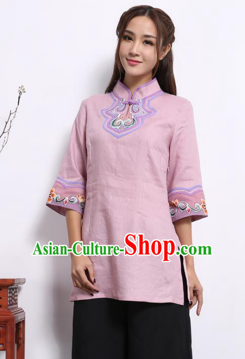 Asian China Top Grade Pink Linen Hand Painting Cheongsam Blouse, Traditional Chinese Tang Suit Hanfu Plated Button Qipao Shirts for Women