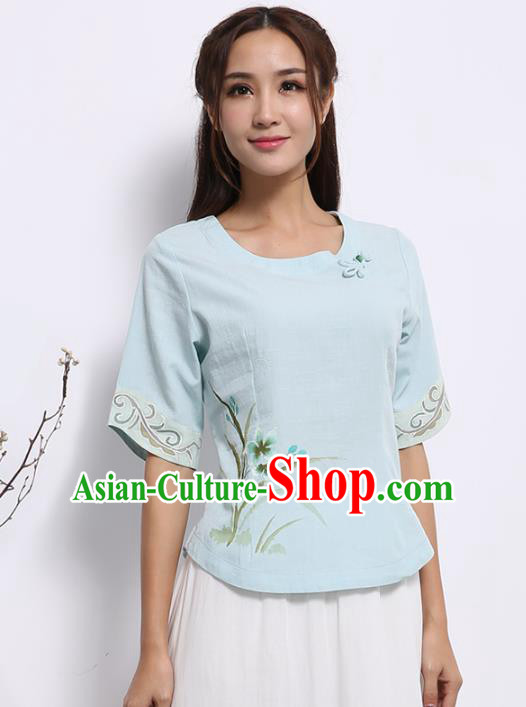 Asian China Top Grade Blue Linen Hand Painting Cheongsam Blouse, Traditional Chinese Tang Suit Hanfu Plated Button Qipao Shirts for Women