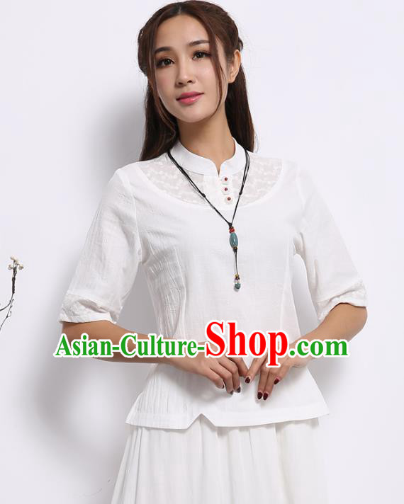 Asian China Top Grade White Lace Linen Cheongsam Blouse, Traditional Chinese Tang Suit Hanfu Plated Button Qipao Shirts for Women
