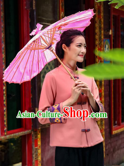 Asian China Top Grade Pink Linen Front Opening Cheongsam Blouse, Traditional Chinese Tang Suit Hanfu Plated Button Qipao Shirts for Women