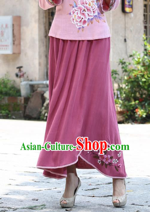 Asian China Hand Painting Top Grade Pink Linen Bust Skirt, Traditional Chinese Tang Suit Hanfu Skirts for Women