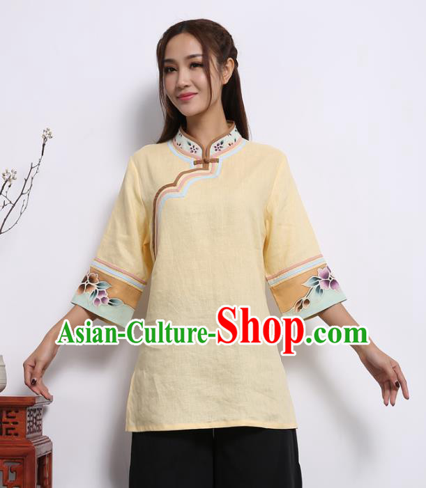 Asian China Top Grade Yellow Linen Cheongsam Blouse, Traditional Chinese Tang Suit Hanfu Plated Button Qipao Shirts for Women