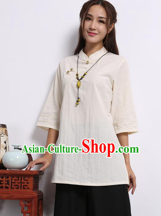 Asian China Top Grade Beige Linen Cheongsam Blouse, Traditional Chinese Tang Suit Hanfu Plated Button Qipao Shirts for Women