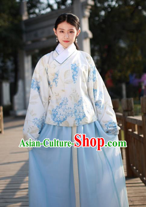 Asian China Ming Dynasty Palace Lady Costume Complete Set, Traditional Chinese Ancient Princess Embroidered Hanfu Blouse and Slip Skirt for Women