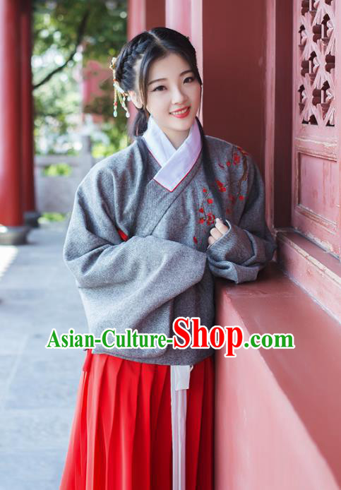 Asian China Ming Dynasty Princess Costume Blouse and Skirt, Traditional Chinese Ancient Embroidered Hanfu Clothing for Women