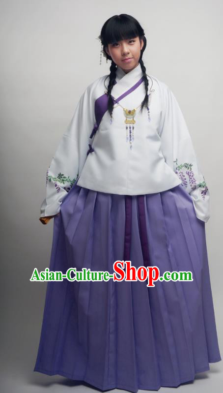 Asian China Ming Dynasty Costume Printing Wisteria Blouse and Skirt, Traditional Chinese Ancient Princess Hanfu Clothing for Women