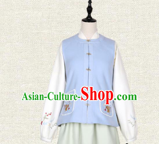 Asian China Ming Dynasty Young Lady Costume Blue Embroidered Cardigan, Traditional Ancient Chinese Princess Elegant Hanfu Clothing for Women
