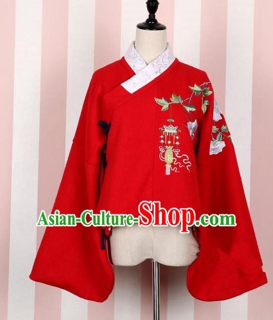 Asian China Ming Dynasty Young Lady Costume Red Embroidered Blouse, Traditional Ancient Chinese Elegant Hanfu Shirts Clothing for Women