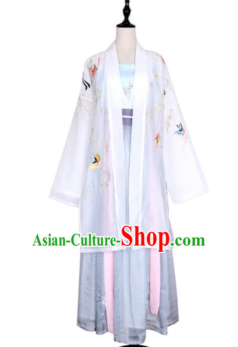 Asian China Song Dynasty Princess Costume Embroidered Butterfly Blouse and Pants, Traditional Ancient Chinese Elegant Hanfu Clothing for Women