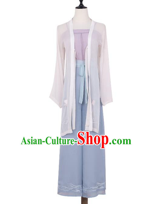 Asian China Song Dynasty Young Lady Embroidered Costume Blouse and Pants, Traditional Ancient Chinese Princess Elegant Hanfu Clothing for Women