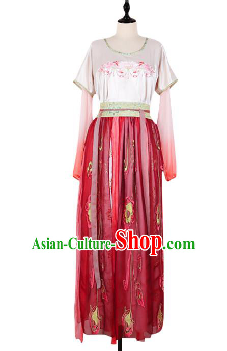 Asian China Tang Dynasty Palace Lady Embroidered Costume, Traditional Ancient Chinese Elegant Hanfu Imperial Concubine Clothing for Women
