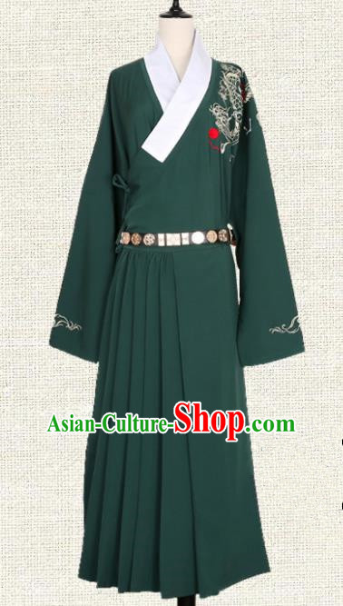 Asian China Ming Dynasty Swordsman Embroidered Clothing, Traditional Ancient Chinese Imperial Guards Hanfu Green Robe for Women