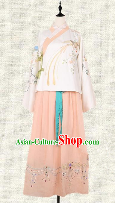 Asian China Ming Dynasty Palace Lady Embroidered Clothing, Traditional Ancient Chinese Imperial Princess Hanfu Dress Clothing for Women
