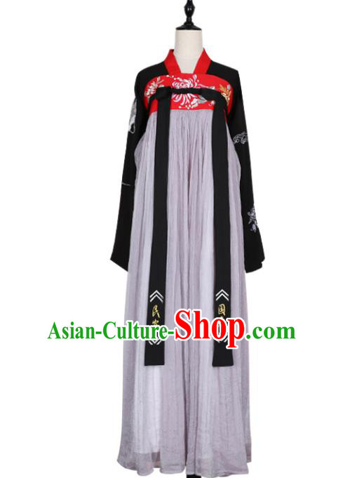 Asian China Tang Dynasty Young Lady Embroidered Costume, Traditional Ancient Chinese Imperial Concubine Elegant Hanfu Grey Slip Skirt Clothing for Women