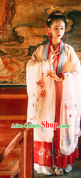 Asian China Tang Dynasty Imperial Princess Clothing, Traditional Ancient Chinese Palace Lady Hanfu Clothing for Women
