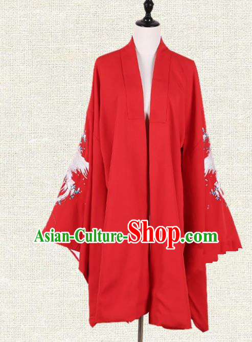 Asian China Tang Dynasty Princess Clothing Embroidered Red Cape, Traditional Ancient Chinese Palace Lady Hanfu Cardigan for Women