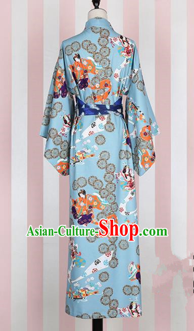 Asian Japan Kimono Clothing Complete Set, Traditional Ancient Japanese Palace Lady Costume for Women