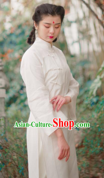 Asian China National Costume White Linen Hanfu Dress, Traditional Chinese Tang Suit Cheongsam Clothing for Women